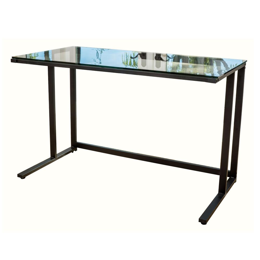 noble house 48 in rectangular black computer desk with open storage 7316 the home depot