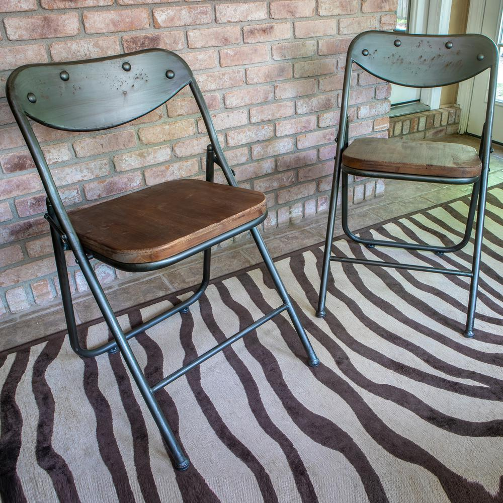 vintage wooden dining chairs eames metal mesh chair decor therapy charcoal and oak wood folding set of 2