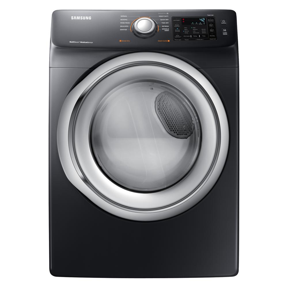 hight resolution of samsung 7 5 cu ft electric dryer with steam in black stainless