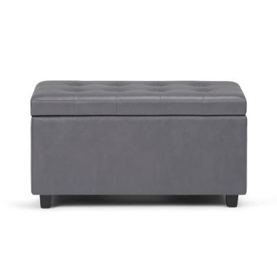 faux leather gray ottomans living