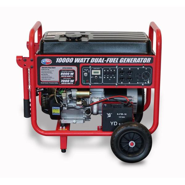 Power 10000-watt Dual Propane And Gasoline Powered Electric Start Portable Generator With