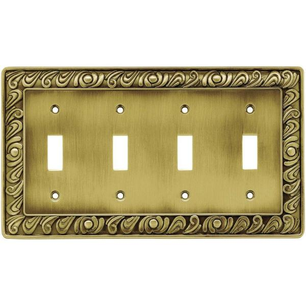 Liberty Paisley Decorative Quadruple Switch Plate Tumbled