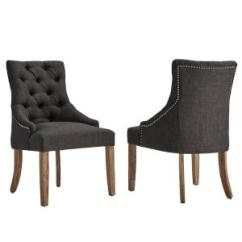 Grey Dining Chairs Best Chair For Long Pc Gaming Sessions Homesullivan Marjorie Dark Linen Button Tufted Set Of 2 40e217c Dg2p The Home Depot