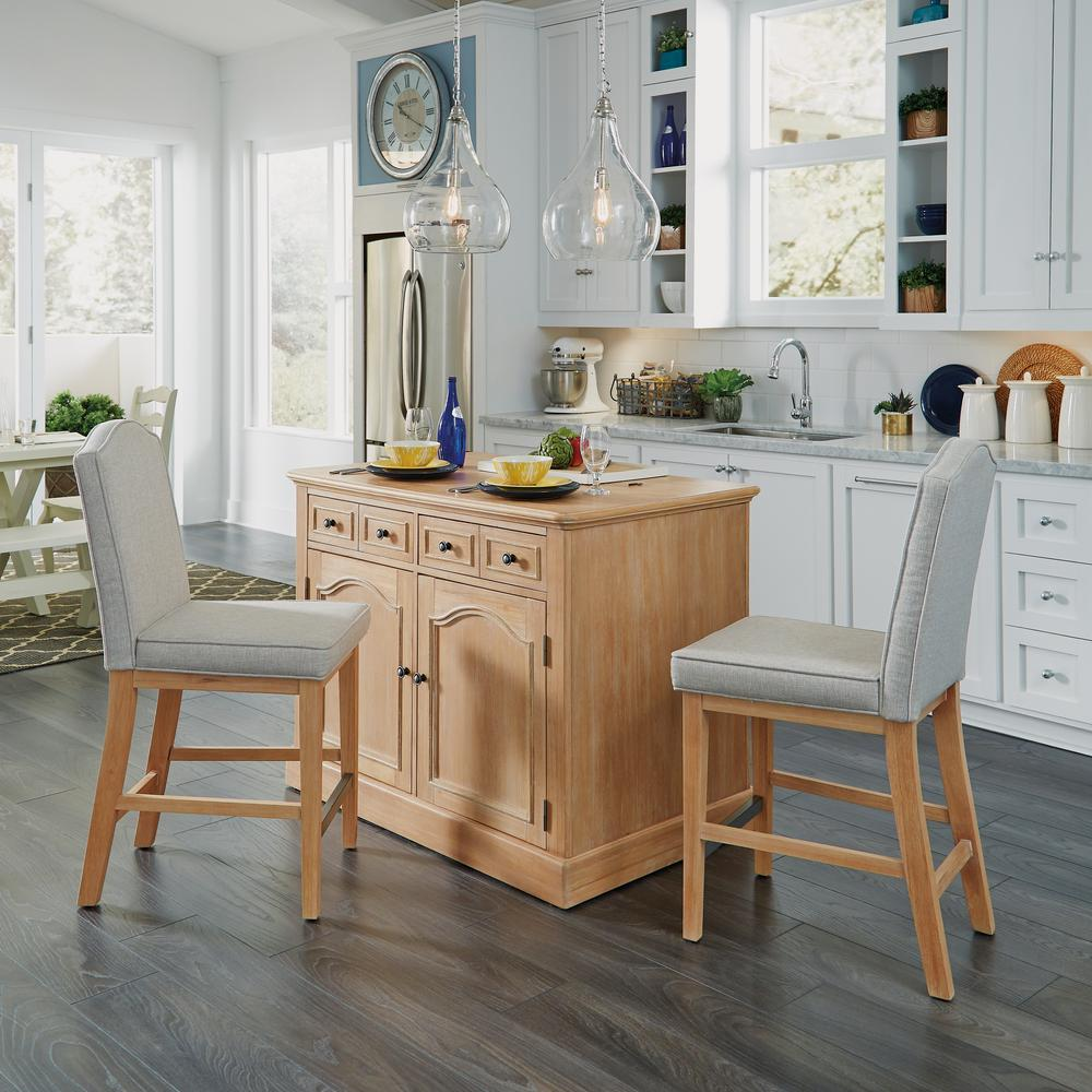 Home Styles Dolly Madison White Kitchen Cart With Natural