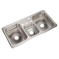 Triple Kitchen Sink Ceiling Fan Elkay Celebrity Drop In Stainless Steel 43 4 Hole Bowl