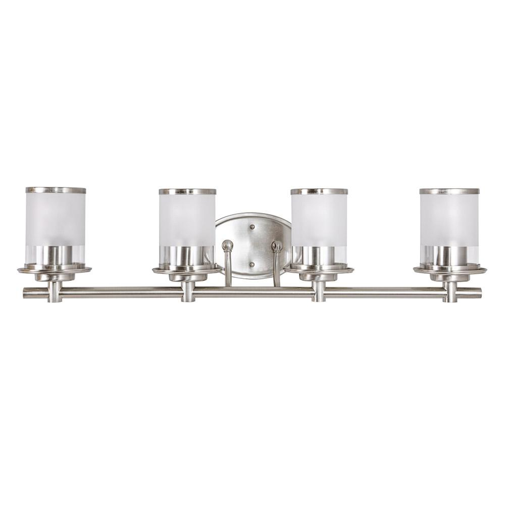 medium resolution of hampton bay 4 light brushed nickel vanity light with combination clear and etched glass shades