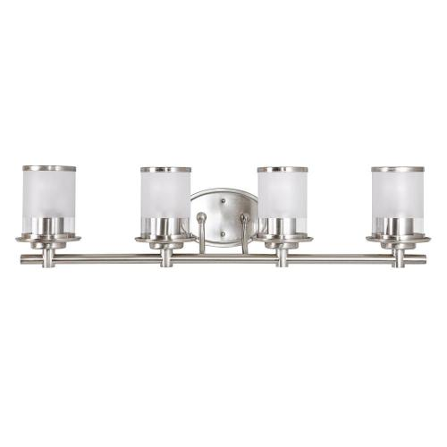 small resolution of hampton bay 4 light brushed nickel vanity light with combination clear and etched glass shades