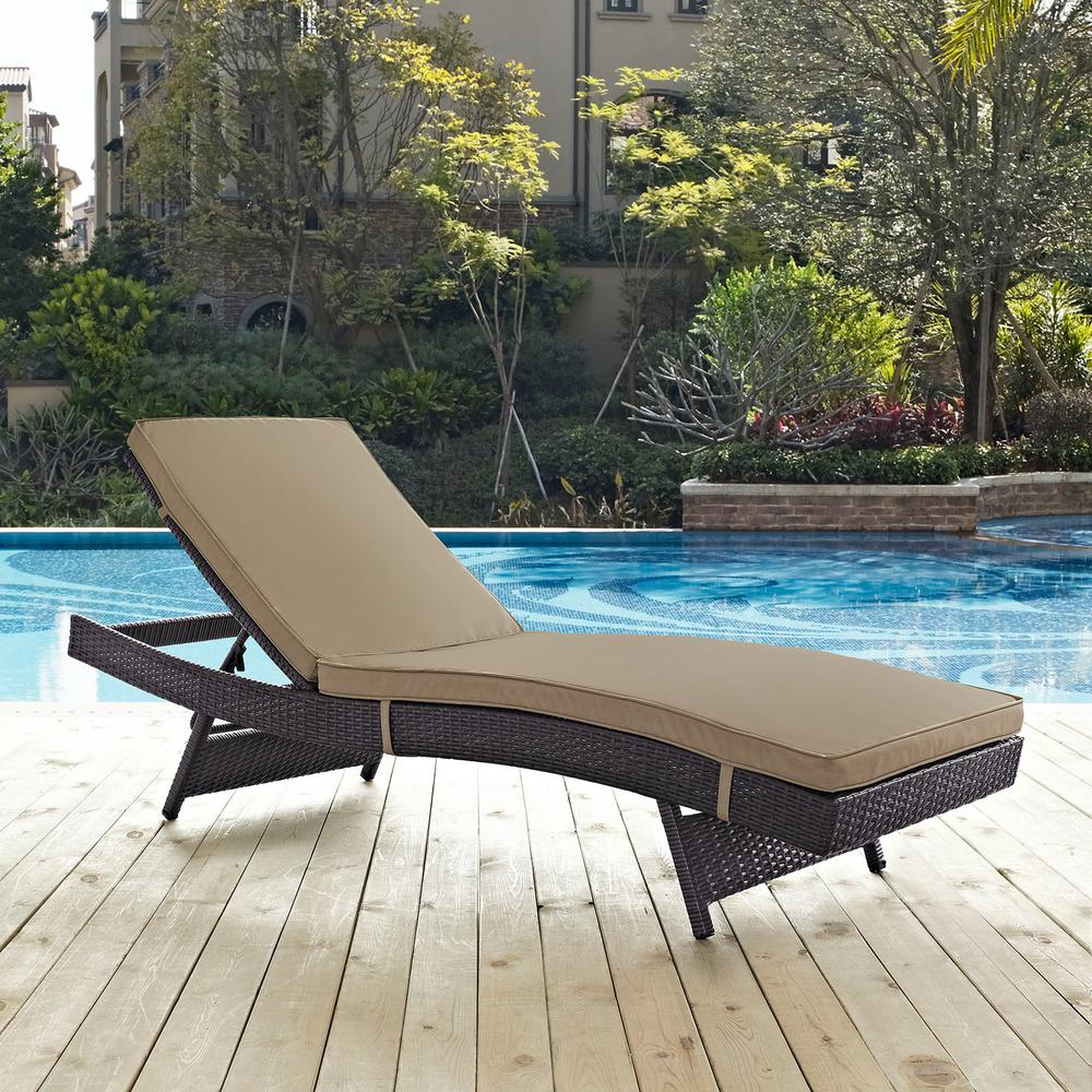 poolside lounge chairs dinette sets with rolling outdoor chaise lounges patio the home depot convene wicker in espresso mocha cushions
