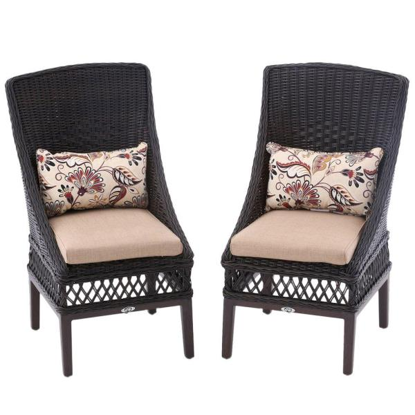 outdoor wicker furniture cushions for chairs Hampton Bay Wicker Outdoor Patio Dining Chair Textured