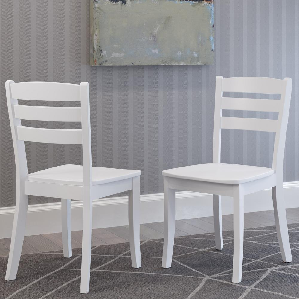 White Wooden Dining Chairs Corliving Dillon White Solid Wood Horizontal Salt Backrest Dining