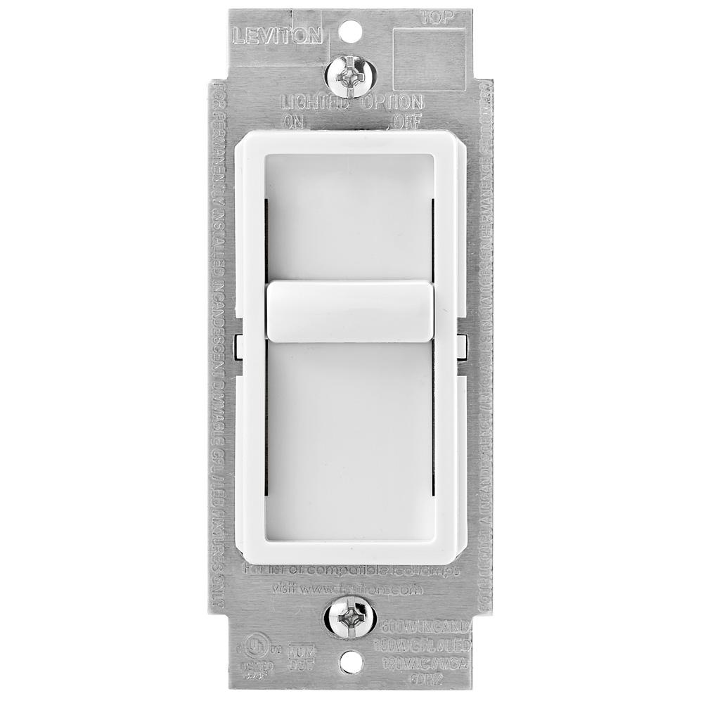 leviton slide dimmer wiring diagram 3 way switch schematic dimmers devices light controls the home depot decora sureslide universal 150w led cfl incandescent to off white