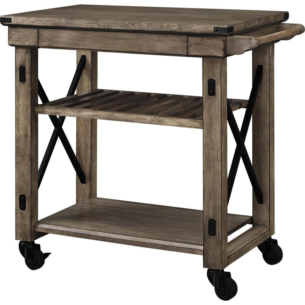 rolling kitchen carts outdoor patio ameriwood forest grove rustic gray serving cart with slatted shelf