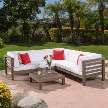 Noble House Oana Grey 4-piece Wood Outdoor Sectional Set
