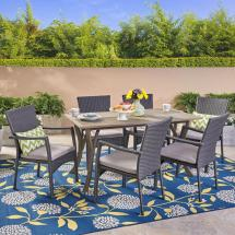 Noble House Corleone Gray 7-piece Wood And Wicker Outdoor