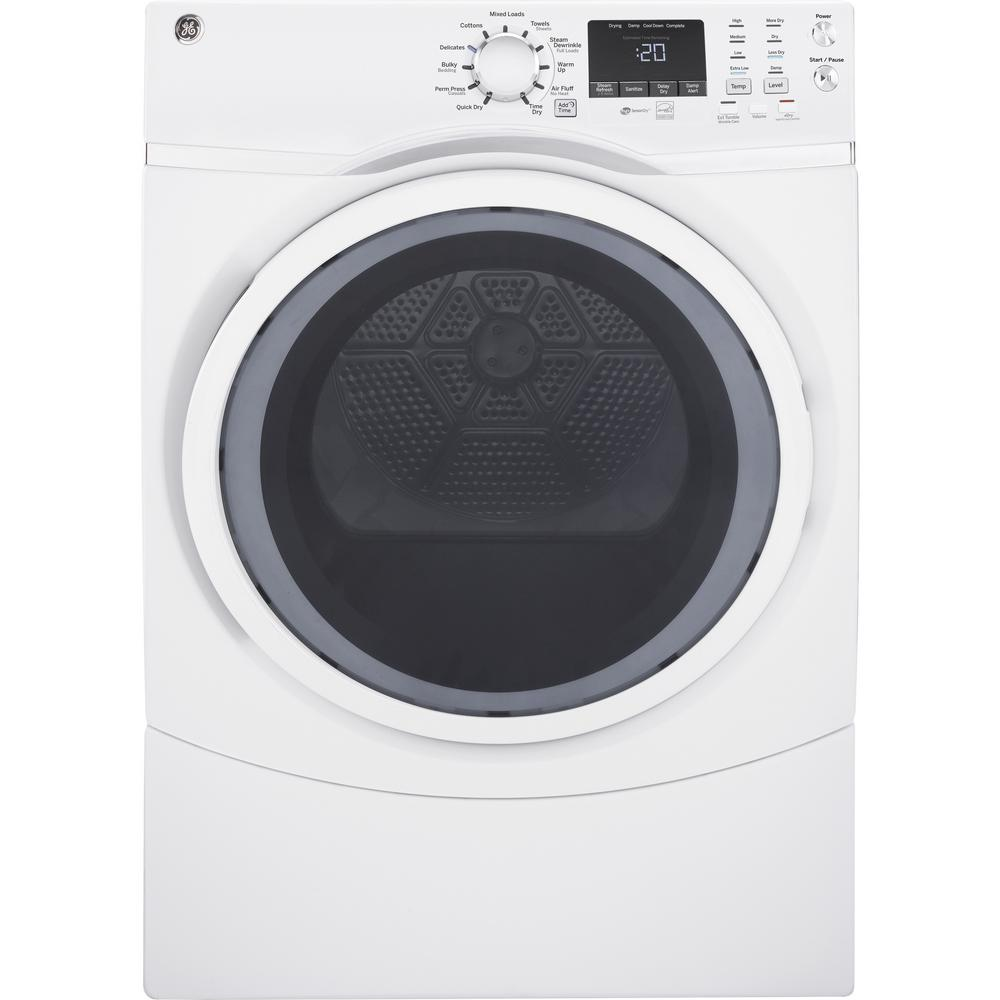 hight resolution of ge 7 5 cu ft capacity front load electric dryer with steam in white