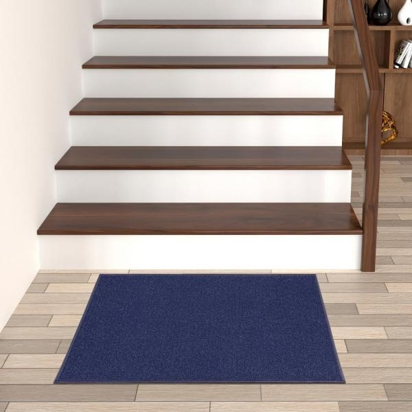 Ottomanson Ottohome Collection Solid Design Navy Blue 2 Ft 3 In | Navy Carpet On Stairs | Wooden | Loop Pile | Wall To Wall Carpet | Dark Blue | Geometric