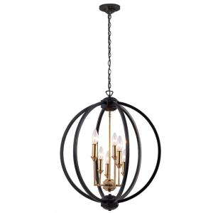 Filament Design 6-Light Matte Black Chandelier-CLI