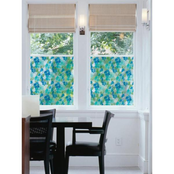 Dc Fix 157.48 In. X 17.7 Blue And Green Stained Glass