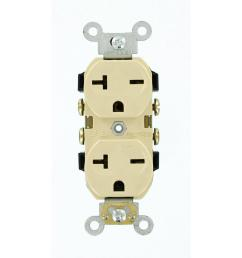 leviton 20 amp commercial grade self grounding duplex outlet ivory [ 1000 x 1000 Pixel ]