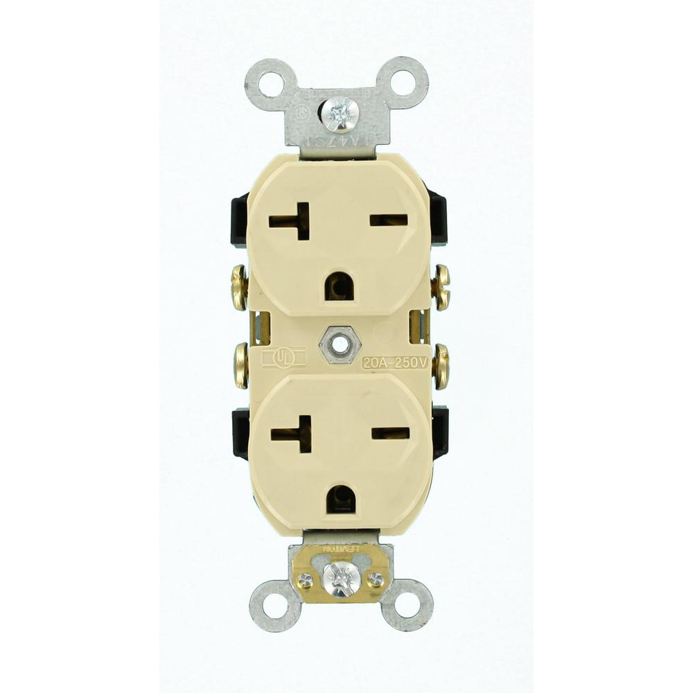 medium resolution of leviton 20 amp commercial grade self grounding duplex outlet ivory