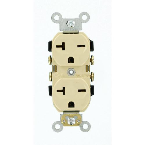 small resolution of leviton 20 amp commercial grade self grounding duplex outlet ivory