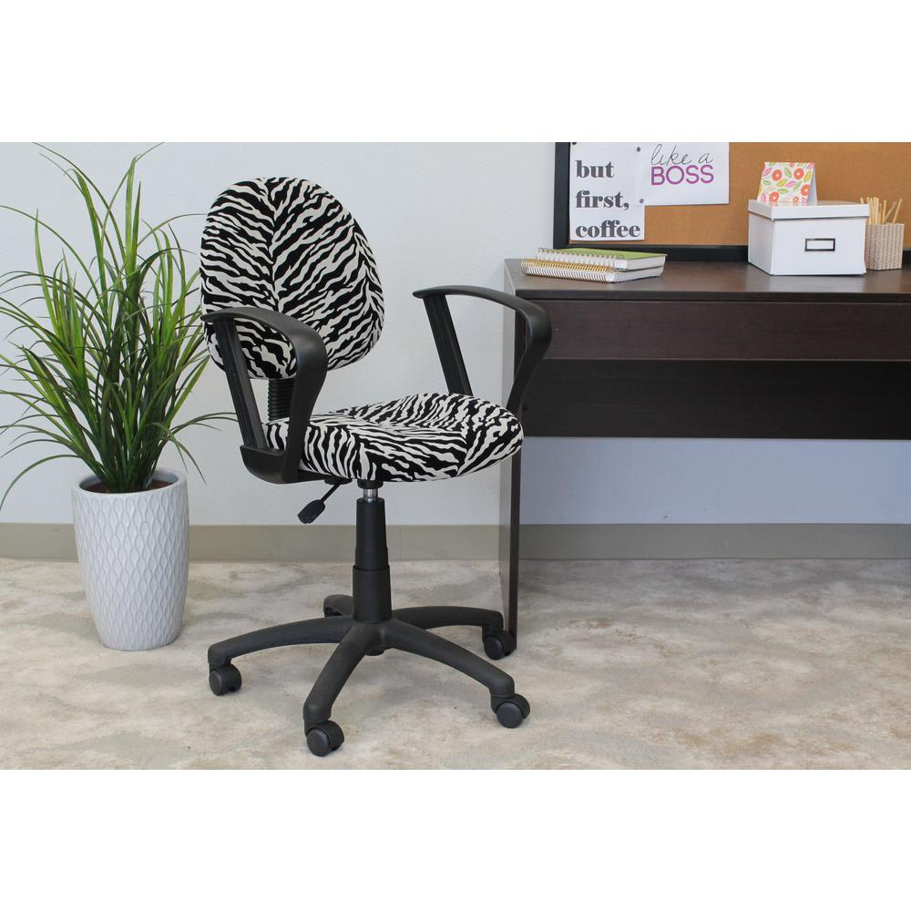 zebra print office chair mickey mouse kids table and chairs microfiber deluxe posture with loop arms b327 zb