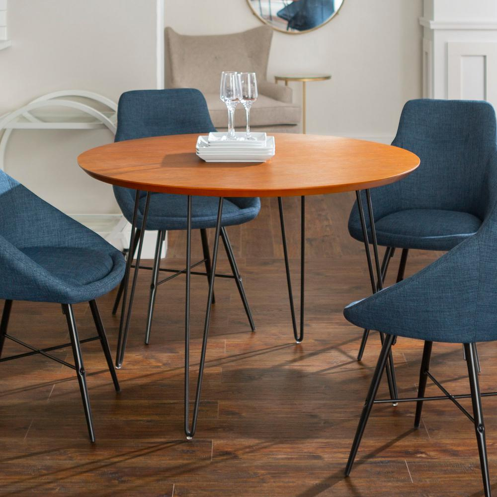 Black Dining Room Table And Chairs Urban Mid Century Modern Round Hairpin 5 Piece Dining Set Walnut Blue