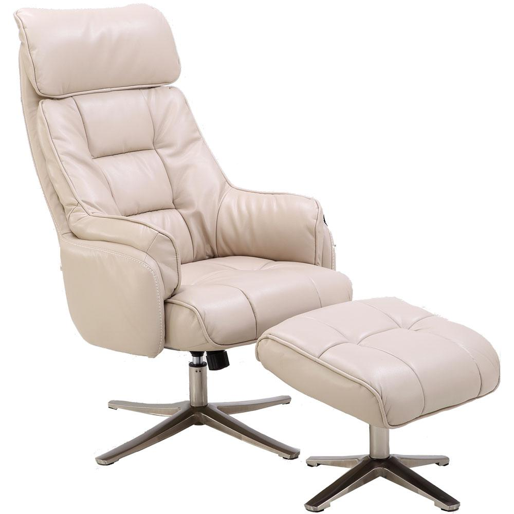 pu leather office chair recliner hanover parker cream with ottoman hlc0205 the home depot