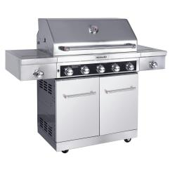 Kitchen Aid Gas Grills Countertop Decor Kitchenaid 5 Burner Propane Grill In Stainless Steel With Sear And Side Burners