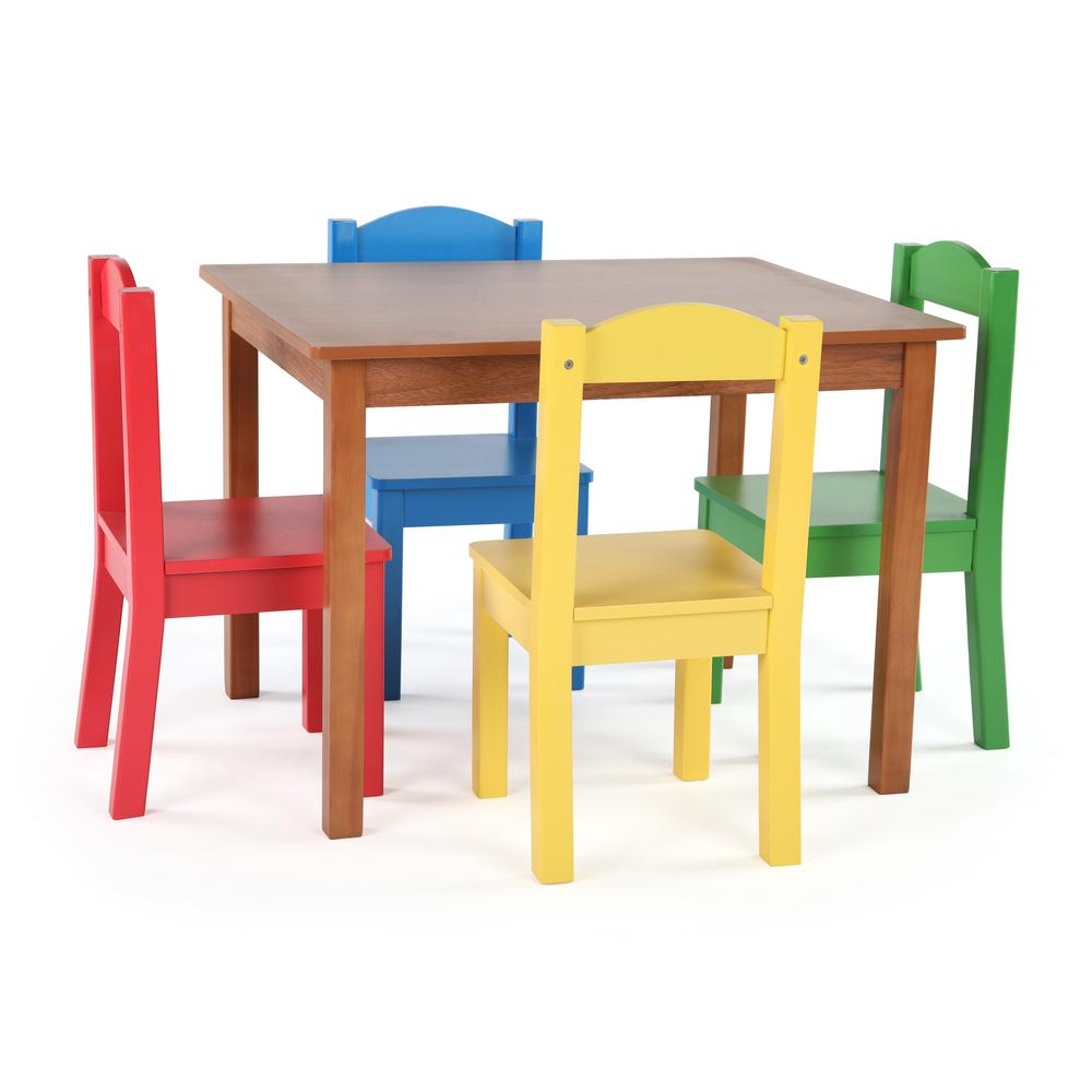 tot tutors table and chairs toddler chair with name highlight 5-piece natural/primary kids set-tc633 - the home depot
