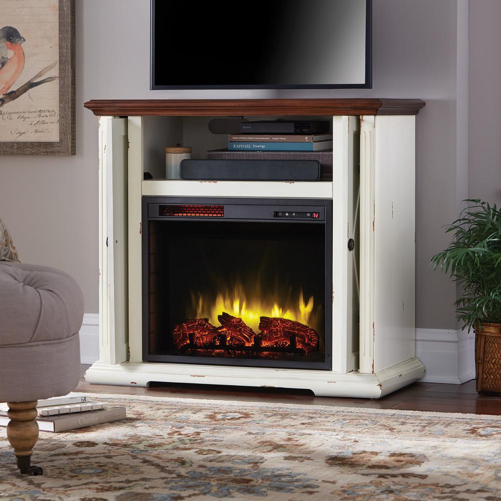 Aged White Pocket Mantel Hamilton 38 in Infrared Fireplace Heater Adjust Ficker  eBay
