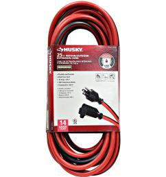 husky 25 ft 14 3 indoor outdoor extension cord red and black [ 1000 x 1000 Pixel ]