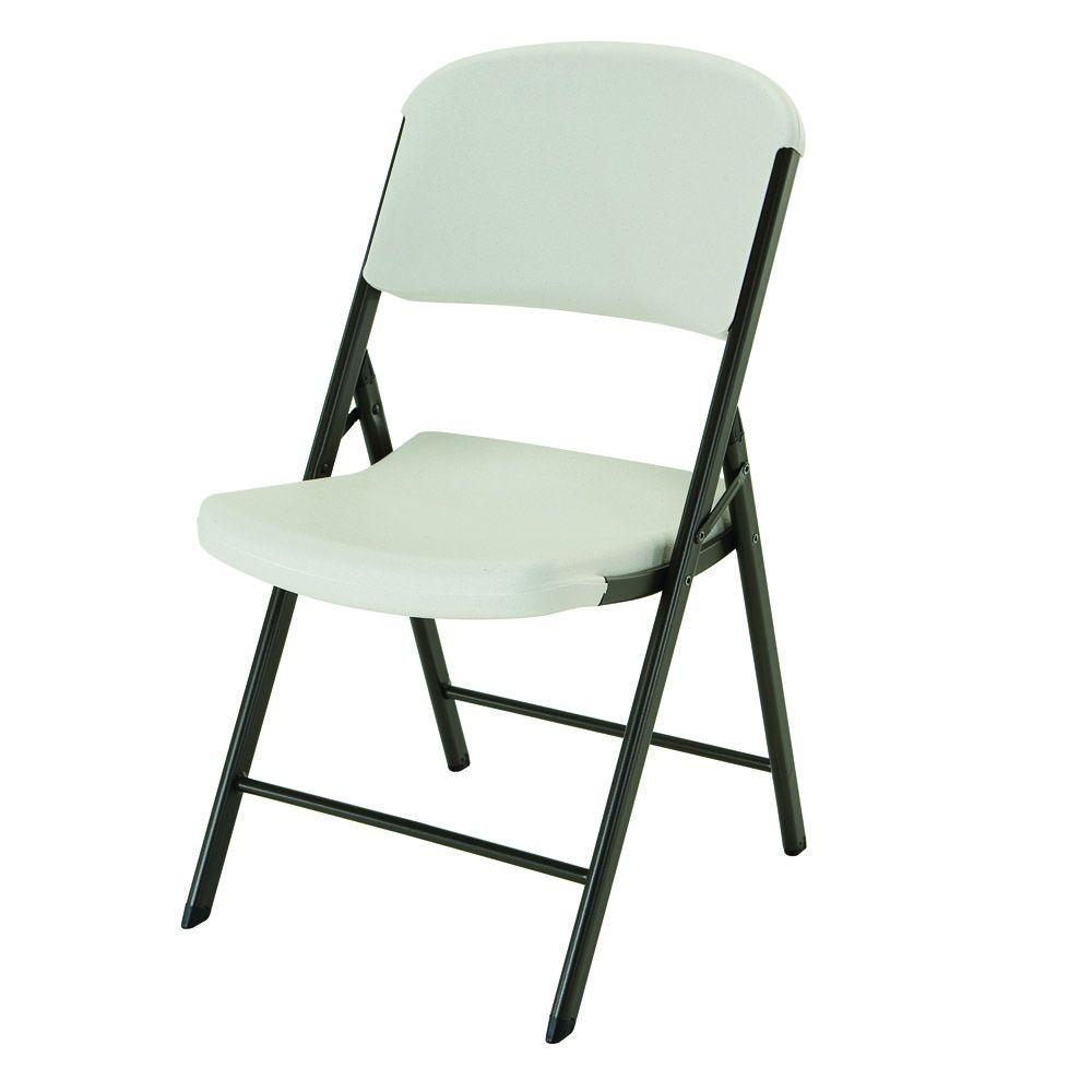 folding chairs for rent club upholstered lifetime almond 4 pack 42803 the home depot