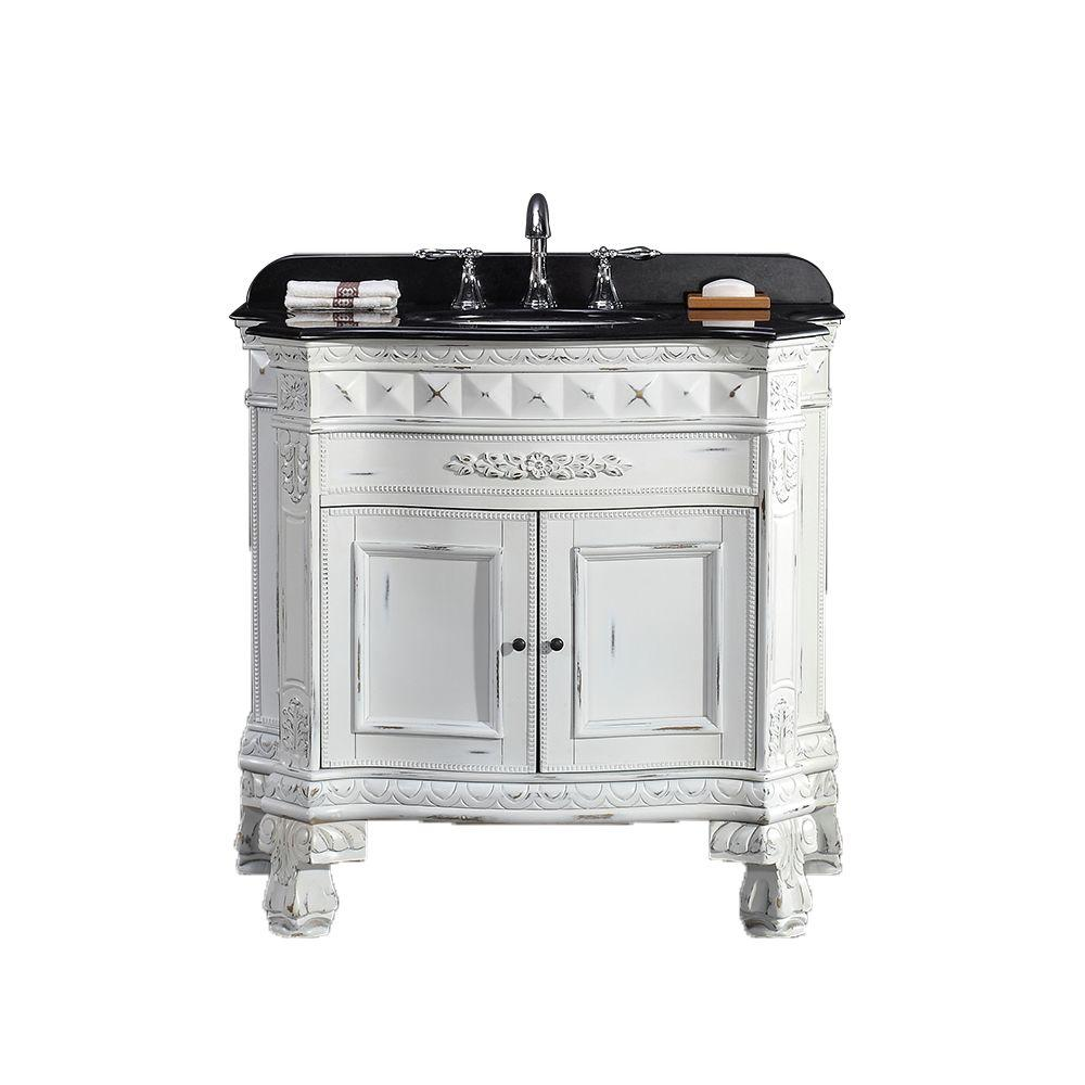 Ove Decors York 36 In W X 20 In D Vanity In Antique White With Granite Vanity Top In Black With White Basin York 36 The Home Depot