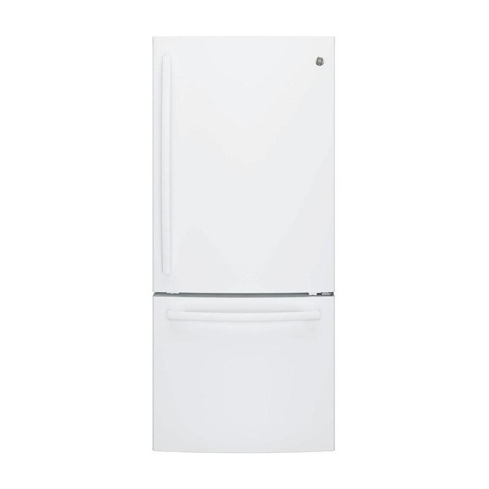 hight resolution of ge 21 0 cu ft bottom freezer refrigerator in stainless steel gbe21dskss the home depot