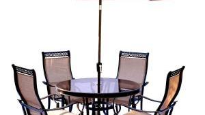 Hanover Monaco 5 Piece Outdoor Dining Set With Round Glass