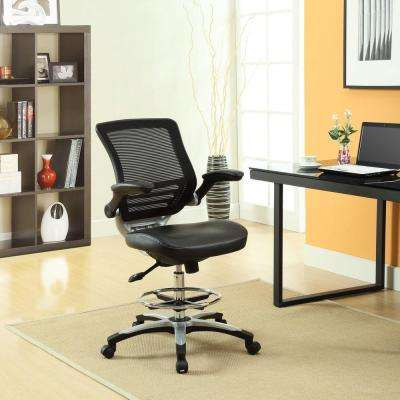 modern drafting chair patio cushion slipcovers faux leather office chairs home edge stool in black