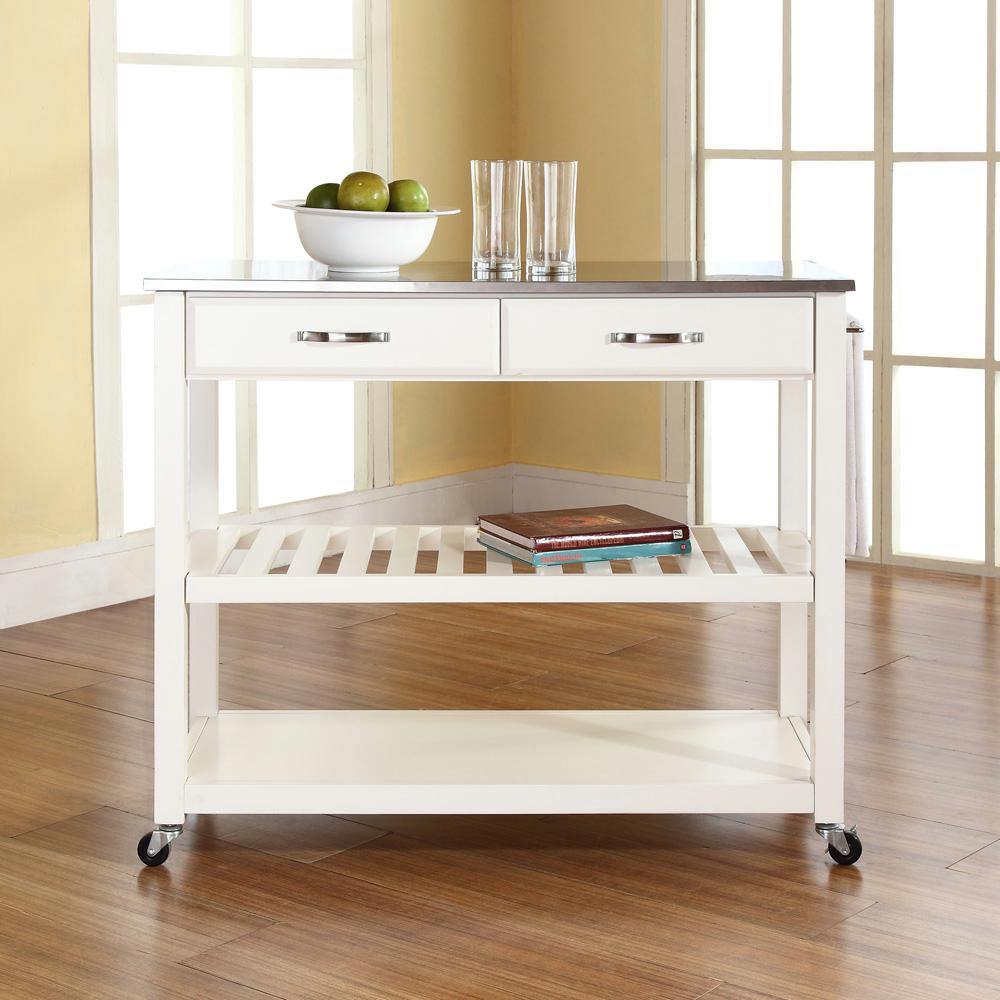 crosley kitchen island marble table set white cart with stainless steel top kf30052wh the