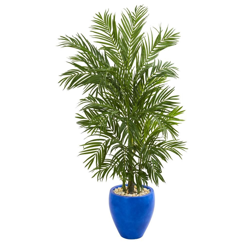 artificial trees for living room framed pictures nearly natural indoor 5 ft areca palm tree in blue planter