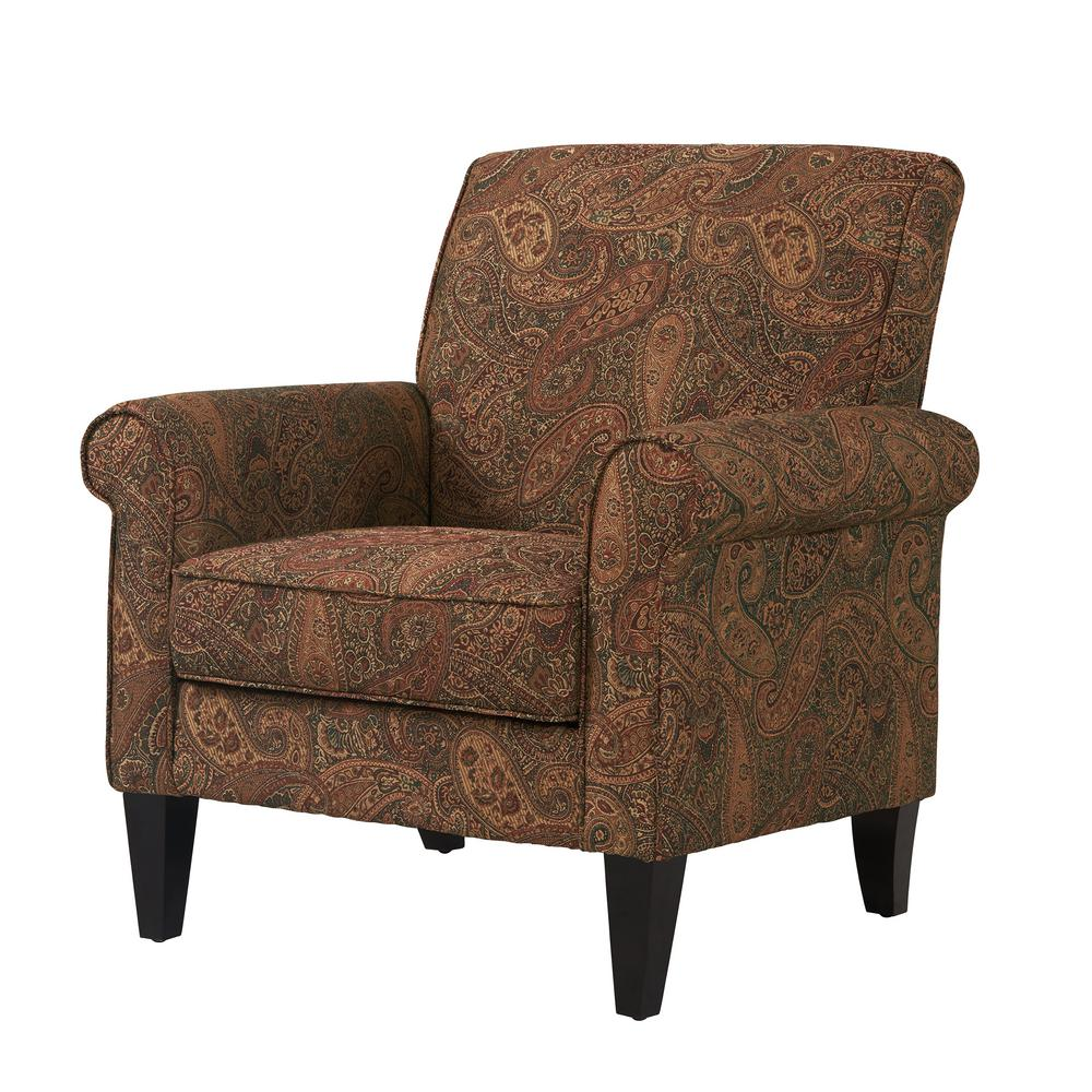 Paisley Chair Handy Living Jean Paisley Multicolored Paisley With Burgundy Arm