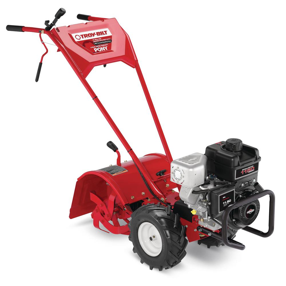 medium resolution of troy bilt pony 16 in 250 cc ohv b s engine rear tine forward rotating gas tiller with one hand operation