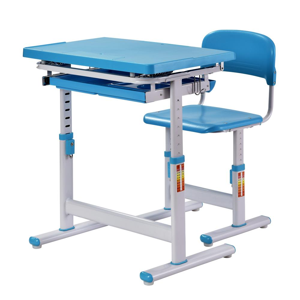 chairs for standing desks french bistro table and uk muscle rack 2 piece blue ergonomic adjustable kids desk chair