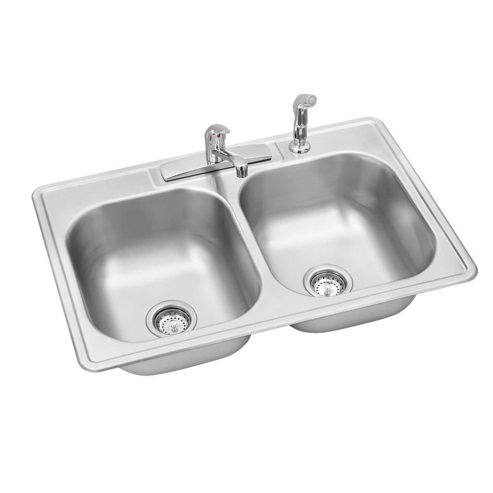 elkay kitchen sinks double sink swift install all in one drop stainless steel 33 4 hole bowl kit