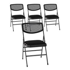 Cloth Padded Folding Chairs Rocking Chair Kits Cosco Commercial Black Metal Hammertone With Fabric Seat And Resin Mesh Back Set Of 4