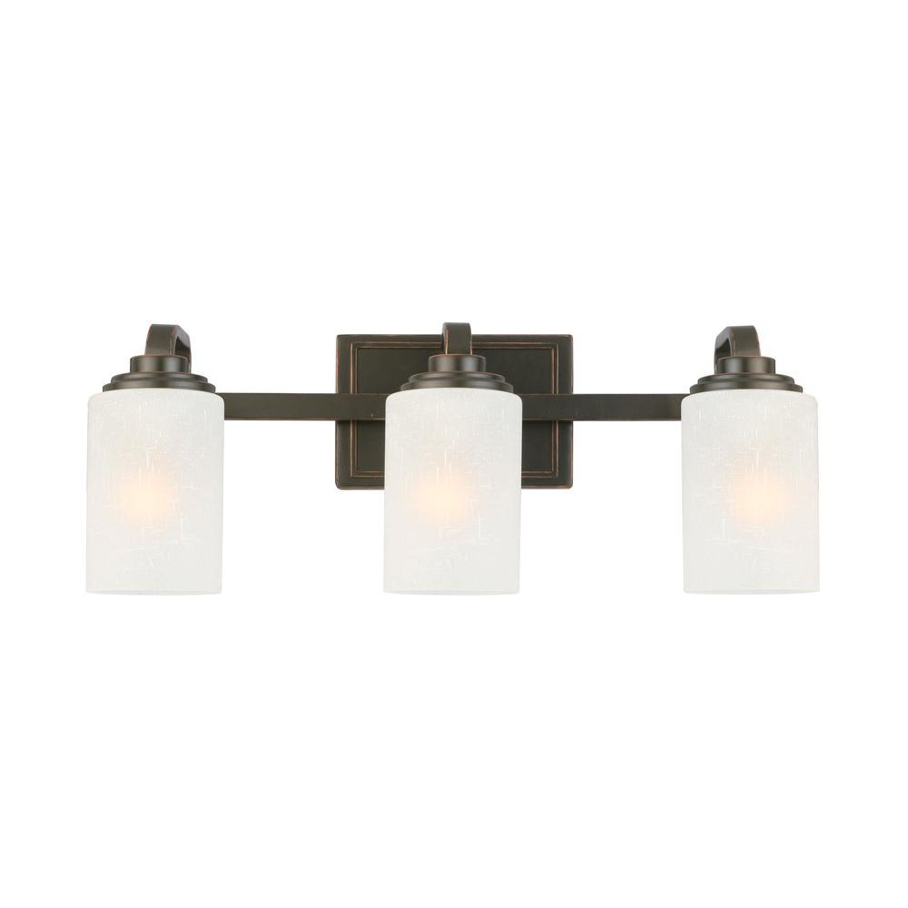 Bathroom Light Fixtures Hampton Bay 3 Light Oil Rubbed Bronze Vanity Light With Frosted Patterned Glass Shade