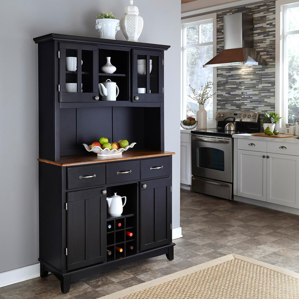 kitchen buffet pantry cabinets home styles black with hutch 5100 0046 42 the depot