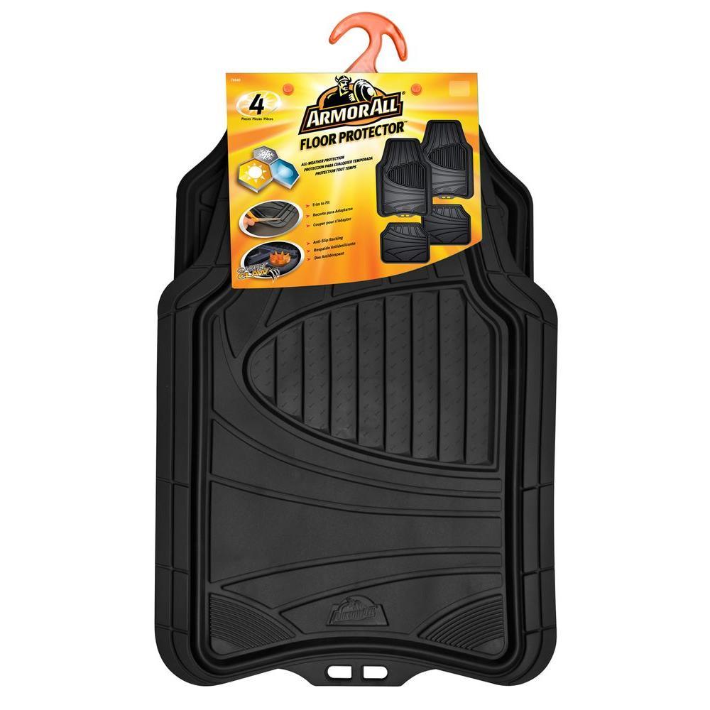medium resolution of black heavy duty rubber 19 in x 29 in car mat 4 piece