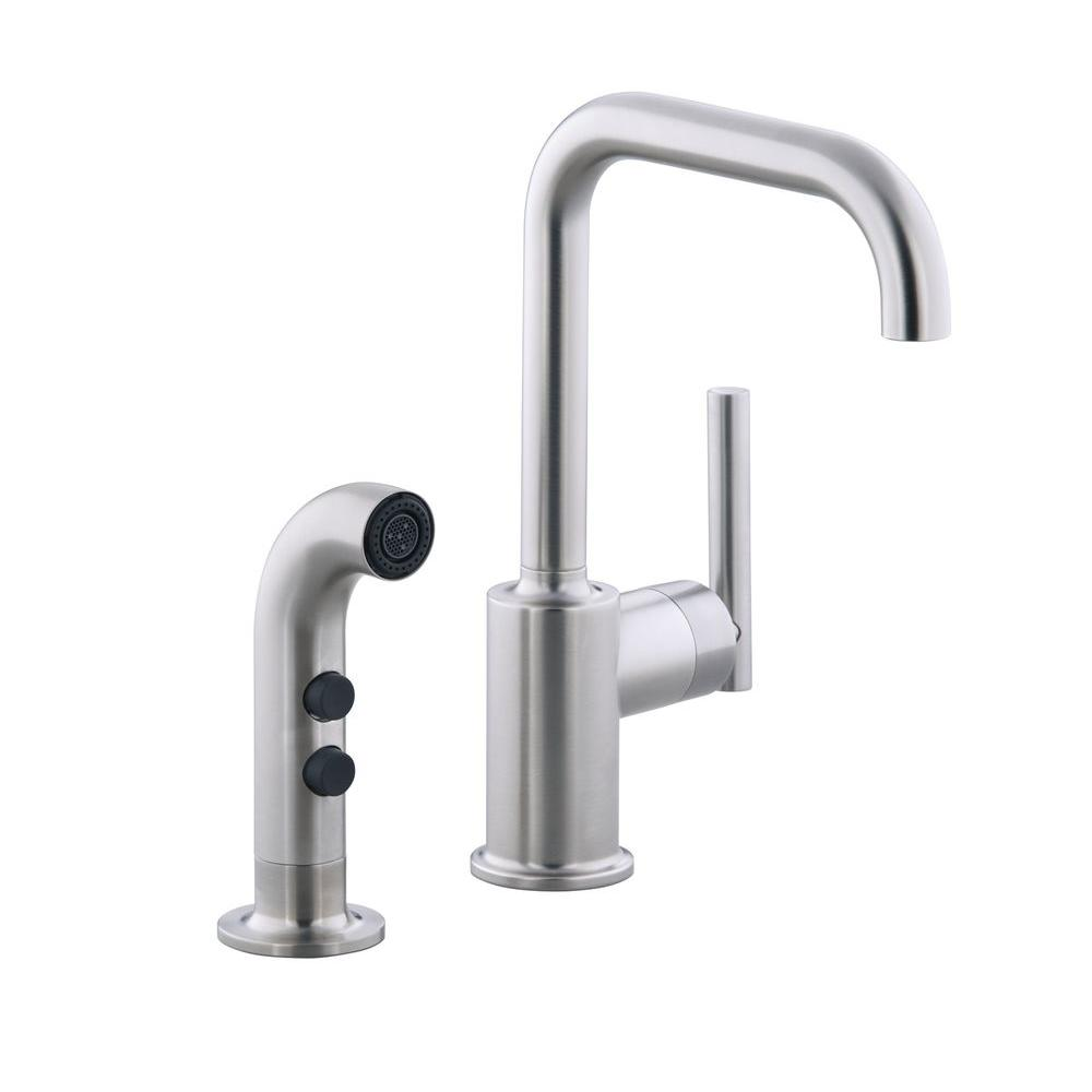 kohler purist kitchen faucet vintage faucets low arc single handle standard with side sprayer in vibrant