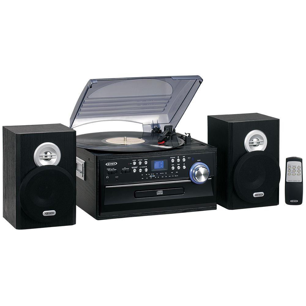 hight resolution of jensen 3 speed stereo turntable music system with cd cassette and am fm