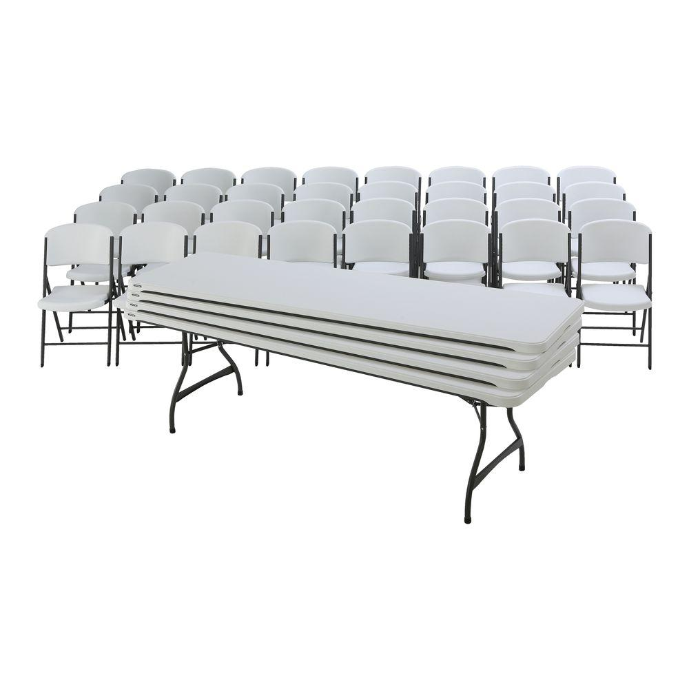 folding table and chair set fitted covers for weddings lifetime 36 piece white 80410 the home